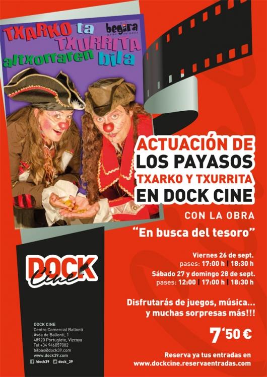 """""""Txarko y txurrita en busca del tesoro"""" teatro infantil en Dock Cine"""