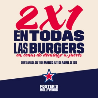 FOSTER'S HOLLYWOOD - 2 X 1 Hamburguesas