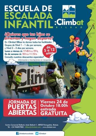 Jornada de puertas abiertas de la escuela de escalada infantil Climbat Bilbao